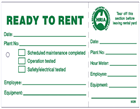Hire and Rental Stickers and Tags