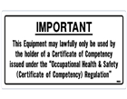 "Important ""Competency Certificate"" required (Pk 10)"