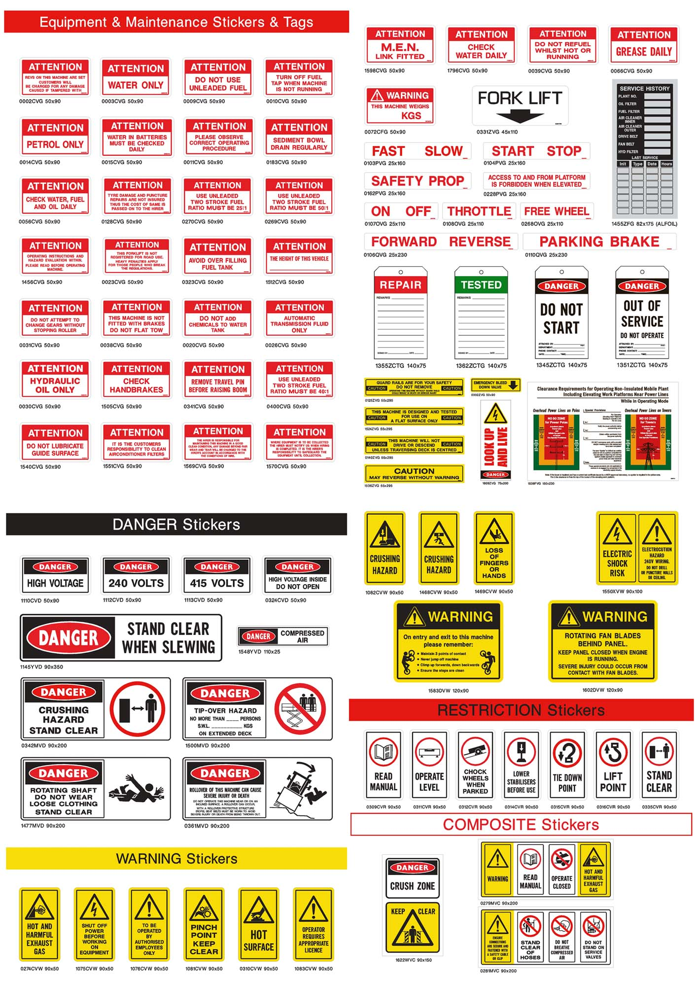 Equipment and Maintenance Stickers